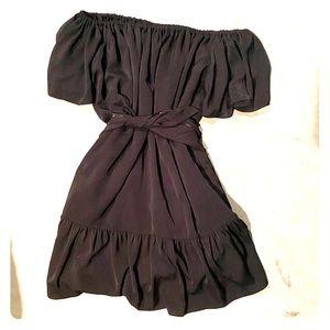 Banana Republic Petite Off-Shoulder Black Dress